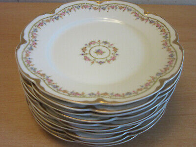 """10 antique Theodore Haviland Limoges France fancy floral luncheon plates 7 5/8"""""""