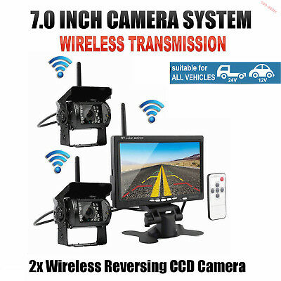 "12-24V 2x Wireless IR Rear View Back up Camera System+7"" Monitor F Truck RV Car"