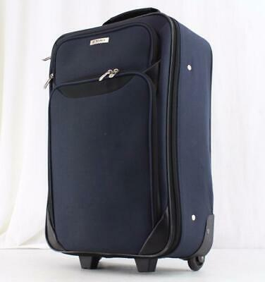 """Tag Springfield Iii 20"""" Navy Blue Rolling Carry On Suitcase Used"""