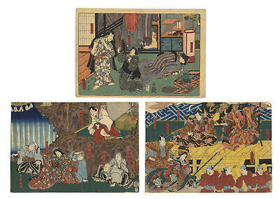 Original Japanese Woodblock Print, Ukiyo-e, Set of 3, Kabuki, Dannoura, Actors
