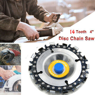 """Grinder Disc 14 Tooth Fine Chain Saw 4"""" Angle Carving Culpting Wood working Tool"""