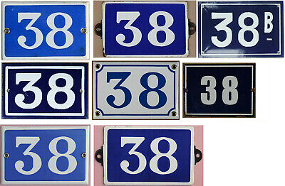 Old blue enamel French house number 38 door gate wall plate - thousands in stock