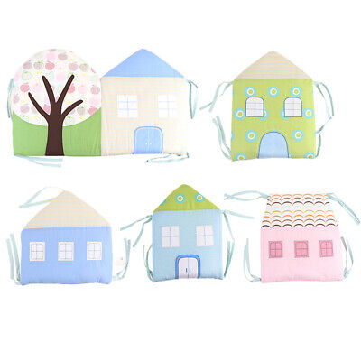 6PCs Baby Crib Cushion Breathable Cotton House Pillow Infant Bed Protector