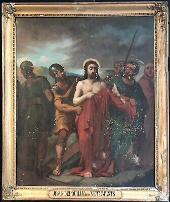 Fine Large Antique 19Th Century French Oil - Christ On The Road To Crucifixion