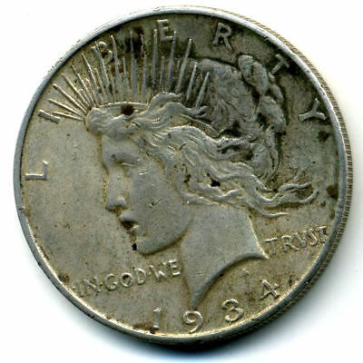 1934 D AU Peace 90%SILVER DOLLAR ABOUT UNCIRCULATED LADY LIBERTY U.S$1 COIN#4066