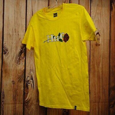 77ce4ddb HUF Worldwide Mens Sz Small Yellow OG Rose Flower Pacsun Graphic Tee  T-Shirt New