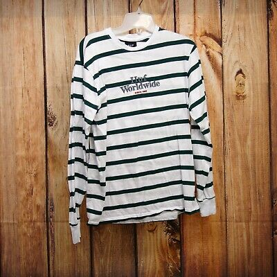 0a9e5971 HUF Worldwide Mens Size Small White OG Logo Striped Graphic Tee T-Shirt New