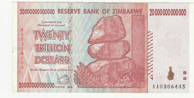 20 Trillion Dollars Aunc  Banknote From Zimbabwe 2008!pick-89!!