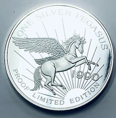 1990 Pegasus Gold Corporation Limited Edition Proof 1 oz .999 Fine Silver Round