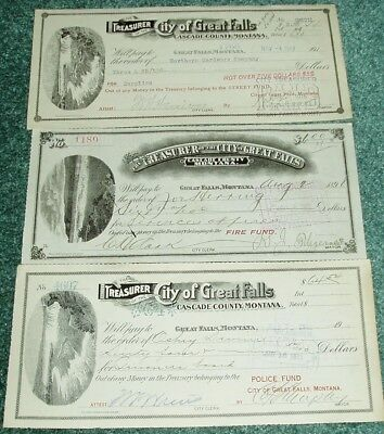 3 Diferent Great Falls Montana Checks-Fire Fund/Police Fund & Street Fund 1898-1