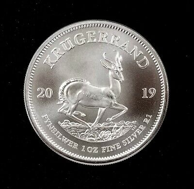 2019 South Africa Krugerrand! 1 Troy Ounce of 0.999 Fine Silver! NO RESERVE!