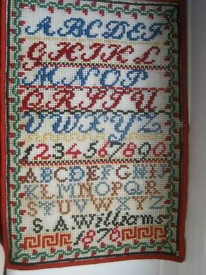 Victorian Unframed Sampler Tapestry Embroidered Alphabet,S.A Williams1876