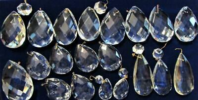 """Set of 20 Assorted Crystal Faceted Almond Teardrop Prisms Lot 1 1/2"""" - 3"""" Long"""