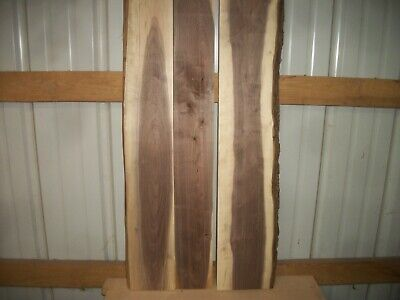 """3 Pc Rustic Walnut Lumber Wood Air Dried Boards 1 1/8"""" Thick 1032Z Slab Table"""
