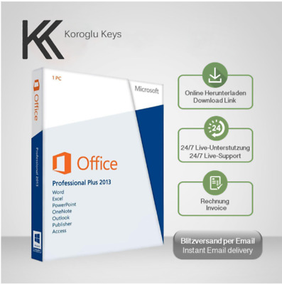 MS Office 2013 Professional Plus, Office 2013 PP, 32&64 Bit Produktkey per email