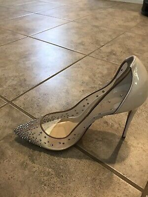783b3ae5b4ce new CHRISTIAN LOUBOUTIN Follies Strass 100 mesh crystal white pumps EU39