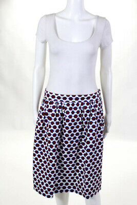 c06610d5c J Crew Red White Blue Cotton Geometric Print Knee Length A Line Skirt Size 8  New