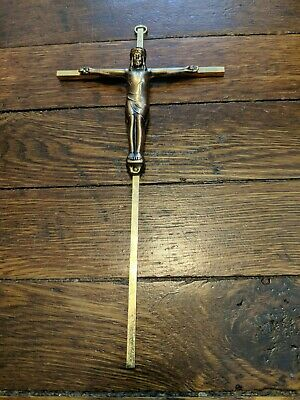 """INRI Brass Gold Metal Crucifix 9"""" Wall Hanging Jesus On The Cross Heavy Antique"""