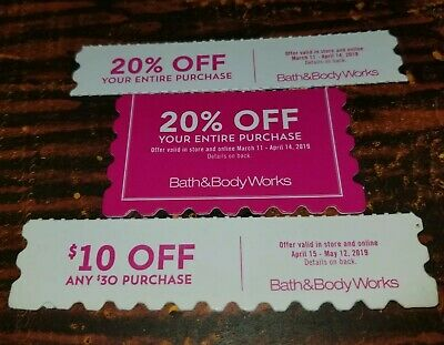 Bath and Body Works Coupons 20% Off $10 Off $30