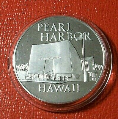""""""" Pearl Harbor Shrine """" Hawaii Round By Franklin Mint 26 Grams .925 Silver"""