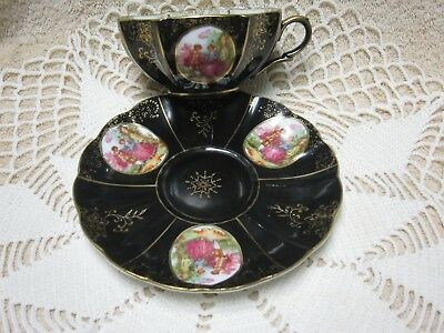 Vintage Victorian Scalloped Tea Cup and Saucer Black, Gold Trim JAPAN ENDO CHINA