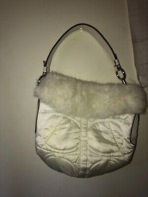 4c096056c8 Coach 3586 Rabbit Fur Leather Trimmed Bag Quilted Signature Soho Ski Hobo  Purse