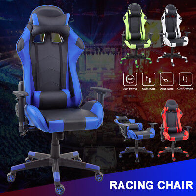 Racing Gaming Chair Executive Computer PU Leather Armrest Adjustable Swivel UK