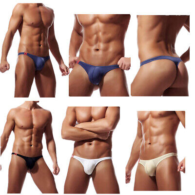 Men Thong G-string Ice Silk Bulge Pouch Underwear Briefs Panties Low Rise T-back