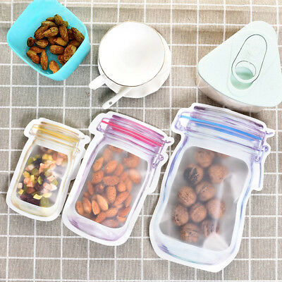 Mason Jar Zipper Bag Pouch Airtight Reusable Snack Bags Food Saver Storage Bag