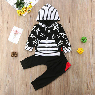 2pcs Toddler Infant Baby Boy Girls Hooded Sweater Tops+Pants Outfits Clothes Set