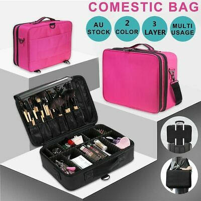 Professional Makeup Bag Portable Cosmetic Case Storage Box Handle Organizer AU