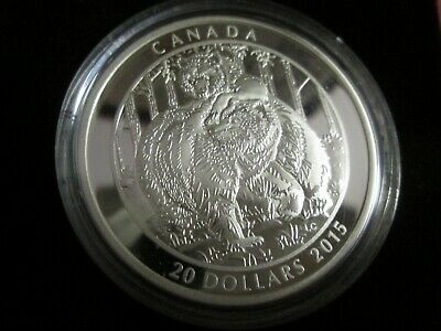 2015 $20 1oz  .9999 fine Silver canadian Grizzly Bear Togetherness Coin