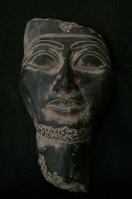 Ancient Egyptian Antique Pharaoh Ptah God Mask Egypt Statue Black Stone 2400, BC