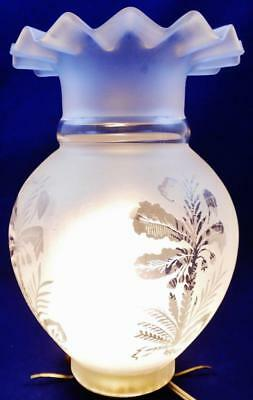 Antique Acid Etched Satin Glass Chimney Lamp Shade Fern Leaf / Petticoat Top