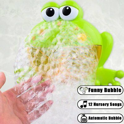 Bubble Machine Big Frog Automatic Bubble Maker Blower Baby Kids Music Bath Toys