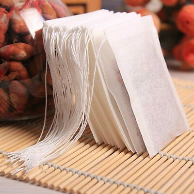 100Pcs/Set Empty Teabags String Heat Seal Filter Paper Herb Loose Tea Bag White