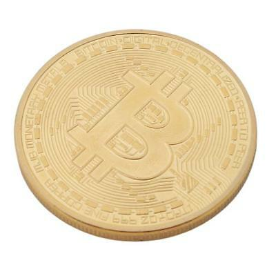 Metal Gold Plated Commemorative Bitcoin Coin Medal Art Collection Gift BS