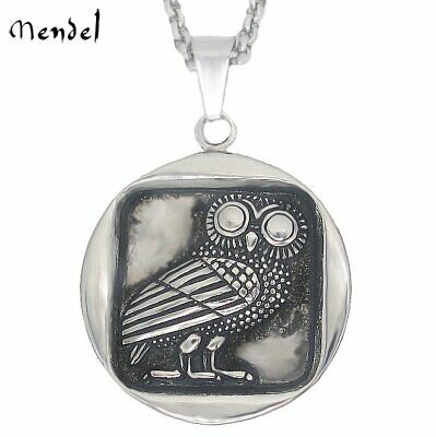 MENDEL Owl Stainless Steel Pendant Necklace Mens Womens Jewelry Vintage Silver