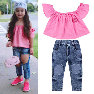 cf25a4c3e39b1 2PCS Toddler Kids Baby Girls T-shirt Tops+Holes Jeans Pants Outfits Clothes  Set