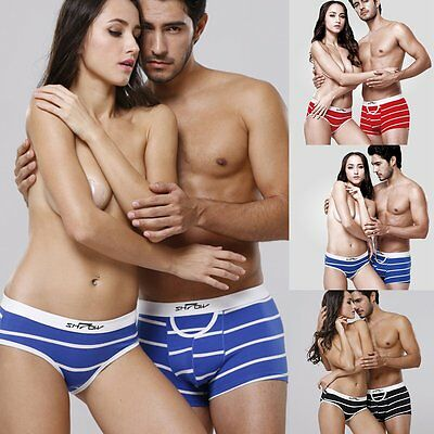 Lovers Couple Cotton Underwear Men's Boxer Shorts Briefs Womens Panties Knickers