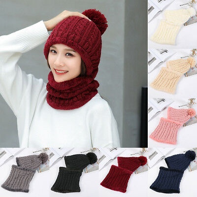 4504f2f4e WOMEN WINTER WARM Crochet Knit Beanie Pom Hat Wool Snow Ski Cap ...