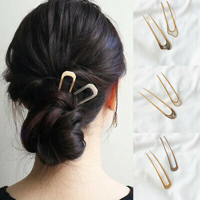 1Pcs Women Retro Hair Sticks Simple Metal Gold U-Shape Hairpin Vertical Clips