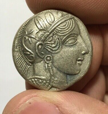 ANCIENT GREEK SILVER COIN TETRADRACHM ATHENS / OWL 16.6gr 26.3mm