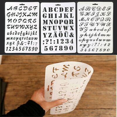 NUMBER LETTERING STENCIL LETTER ALPHABET STENCILS PAINTING PAPER CRAFT Fancy