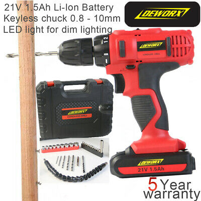 21V Cordless Drill Driver 1500mAh  Lithium Ion Battery Screwdriver LED Worklight