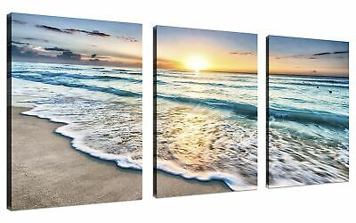 QICAI 3 Panel Canvas Wall Art for Home Decor Blue Sea Sunset White Beach Paintin