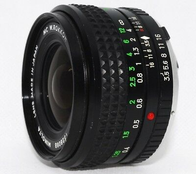 【 EXC++++ 】 MINOLTA MC W ROKKOR 28mm F/3.5 MF MD/MC Mount Lens From Japan