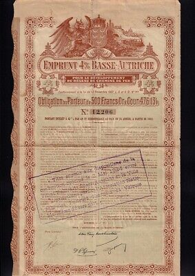 AUSTRIA Government / State / Railway Bond dd 1911 500 Gold Francs