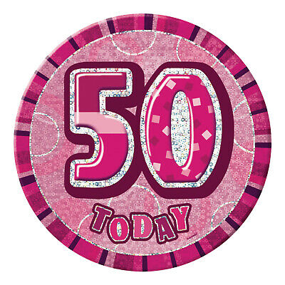 """6"""" Pink Glitz Giant 50th Today Birthday Party Holographic Fancy Dress Badge"""