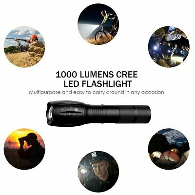 Military 1200LM XM-L T6 LED Rechargeable Flashlight Zoomable Hunting Torch
